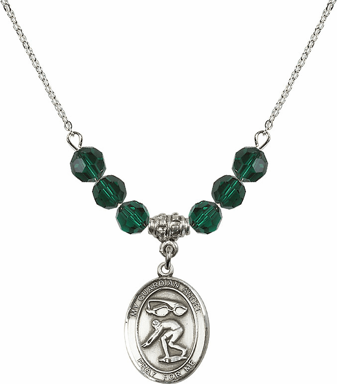 Sterling Silver Guardian Angel Swimming Sterling May Emerald Swarovski Crystal Beaded Necklace by Bliss Mfg