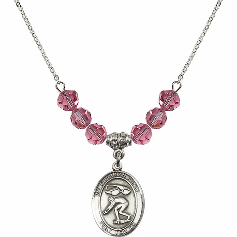 Guardian Angel Swimming Sterling October Rose Swarovski Crystal Beaded Necklace by Bliss Mfg