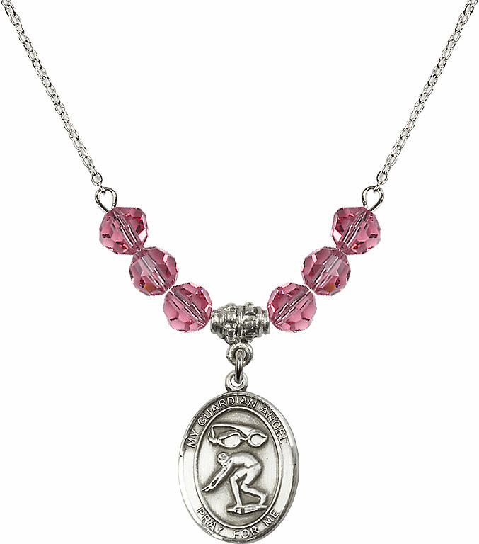 Sterling Silver Guardian Angel Swimming Sterling October Rose Swarovski Crystal Beaded Necklace by Bliss Mfg