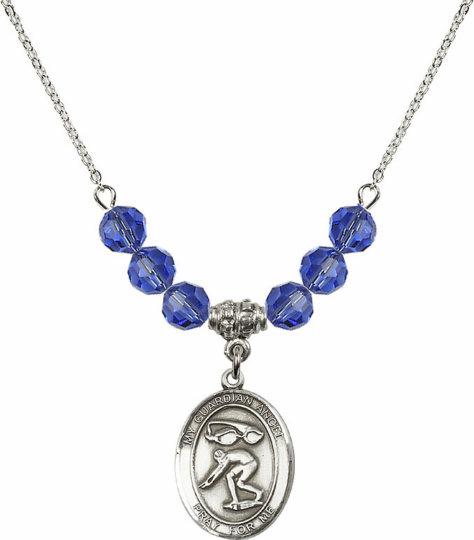 Guardian Angel Swimming Sterling September Sapphire Swarovski Crystal Beaded Necklace by Bliss Mfg