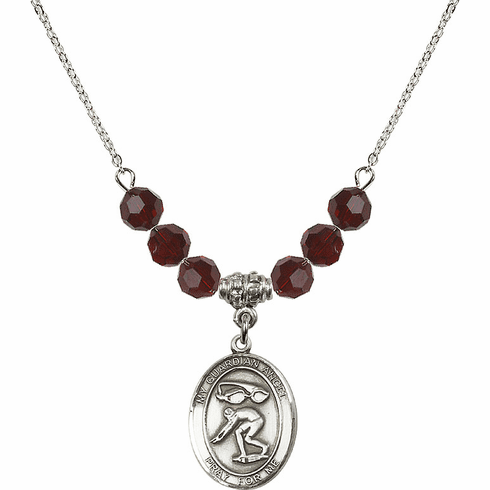 Guardian Angel Swimming Swarovski Crystal Beaded Necklace by Bliss Mfg
