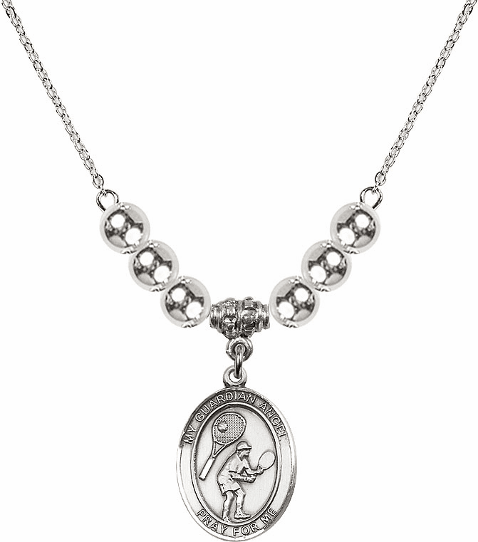 Guardian Angel Tennis Sterling Charm w/Silver Beads Necklace by Bliss Mfg