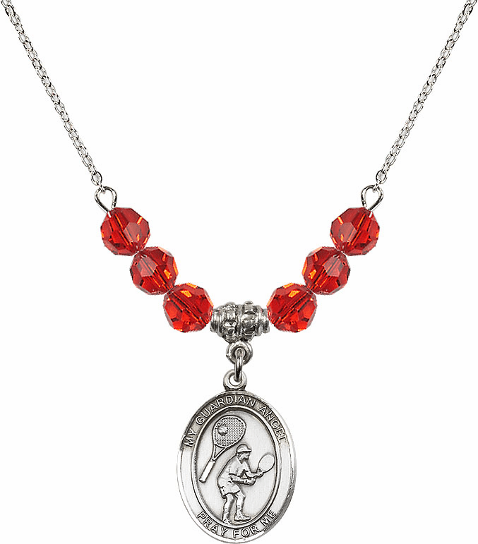 Guardian Angel Tennis Sterling July Ruby Swarovski Crystal Beaded Necklace by Bliss Mfg