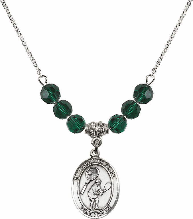 Guardian Angel Tennis Sterling May Emerald Swarovski Crystal Beaded Necklace by Bliss Mfg