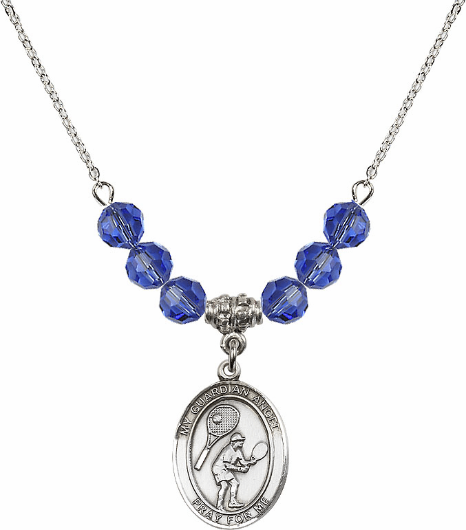 Guardian Angel Tennis Sterling September Sapphire Swarovski Crystal Beaded Necklace by Bliss Mfg