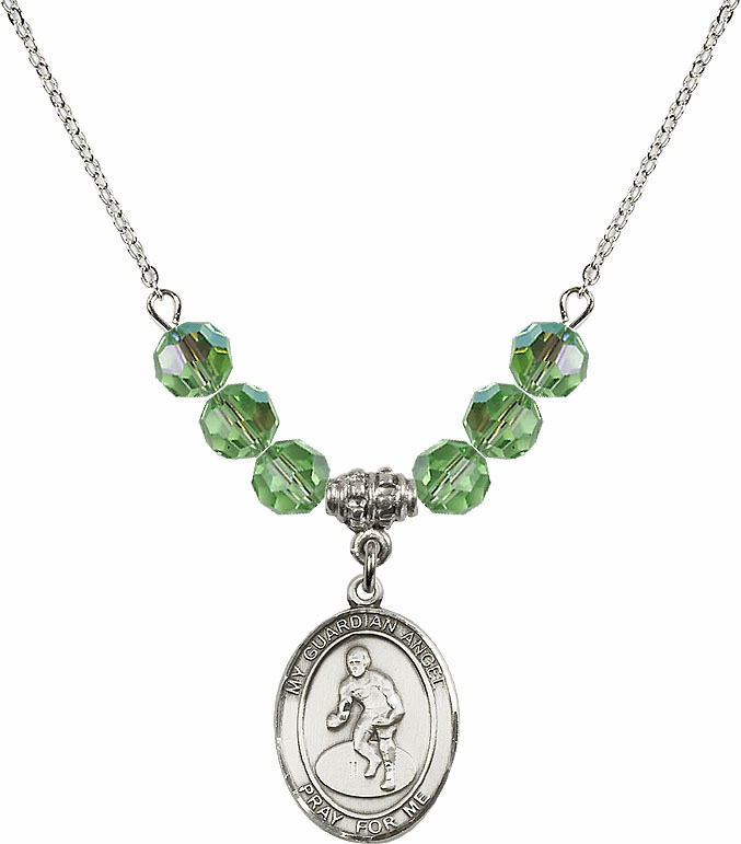 Sterling Silver Guardian Angel Wrestling Sterling August Peridot Swarovski Crystal Beaded Necklace by Bliss Mfg