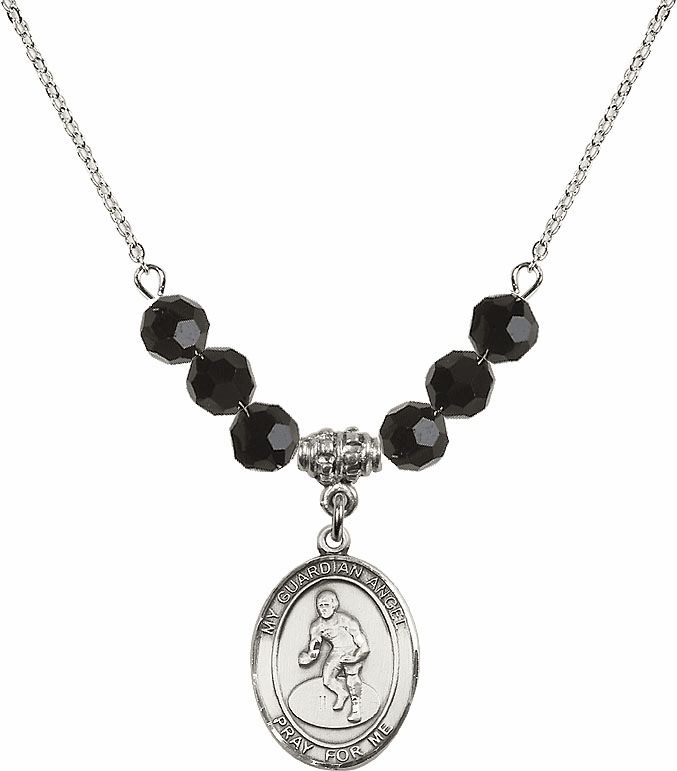 Sterling Silver Guardian Angel Wrestling Sterling Black Jet Swarovski Crystal Beaded Necklace by Bliss Mfg