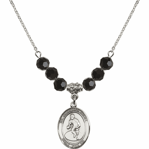 Guardian Angel Wrestling Sterling Black Jet Swarovski Crystal Beaded Necklace by Bliss Mfg