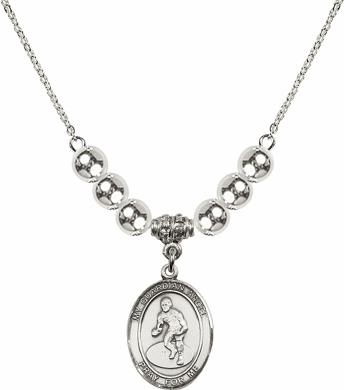 Sterling Silver Guardian Angel Wrestling Sterling Charm w/Silver Beads Necklace by Bliss Mfg