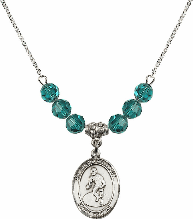 Sterling Silver Guardian Angel Wrestling Sterling December Zircon Swarovski Crystal Beaded Necklace by Bliss Mfg