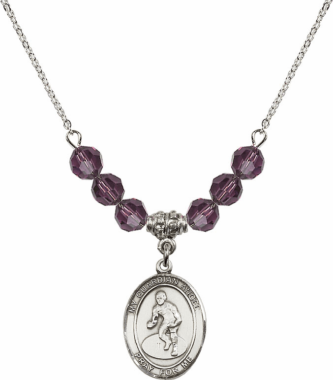 Sterling Silver Guardian Angel Wrestling Sterling February Amethyst Swarovski Crystal Beaded Necklace by Bliss Mfg