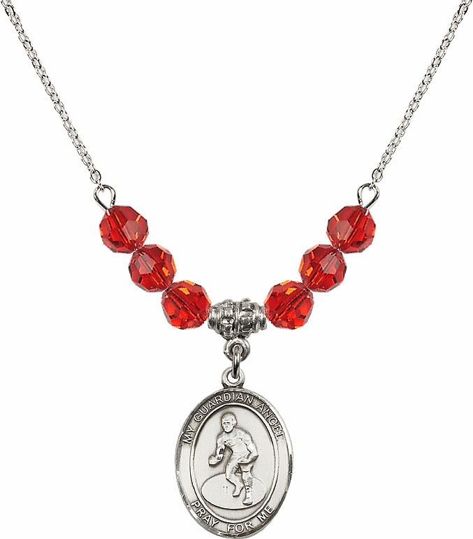 Sterling Silver Guardian Angel Wrestling Sterling July Ruby Swarovski Crystal Beaded Necklace by Bliss Mfg