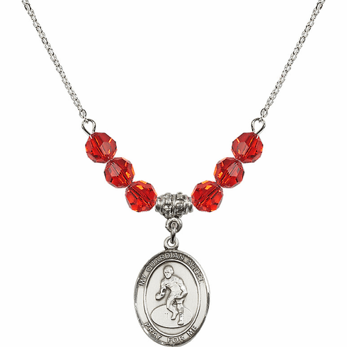 Guardian Angel Wrestling Sterling July Ruby Swarovski Crystal Beaded Necklace by Bliss Mfg