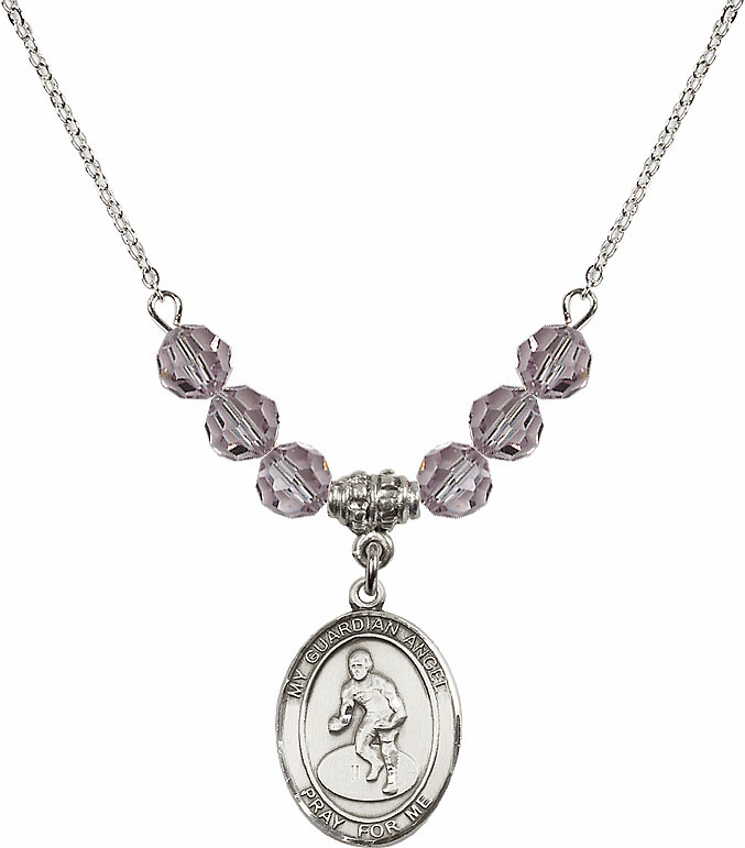 Sterling Silver Guardian Angel Wrestling Sterling June Lt Amethyst Swarovski Crystal Beaded Necklace by Bliss Mfg