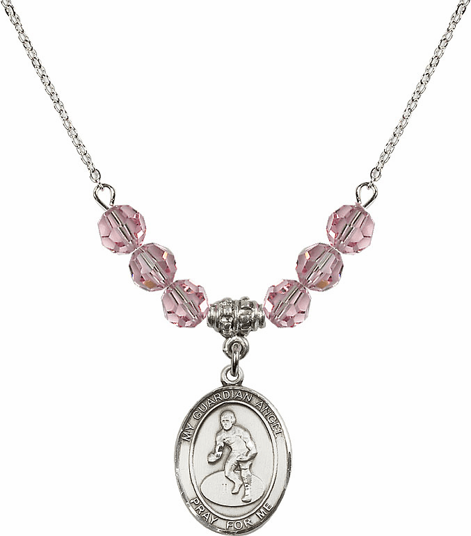Sterling Silver Guardian Angel Wrestling Sterling Lt Rose Swarovski Crystal Beaded Necklace by Bliss Mfg