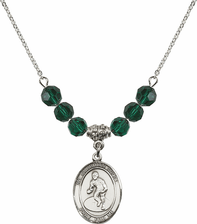 Sterling Silver Guardian Angel Wrestling Sterling May Emerald Swarovski Crystal Beaded Necklace by Bliss Mfg