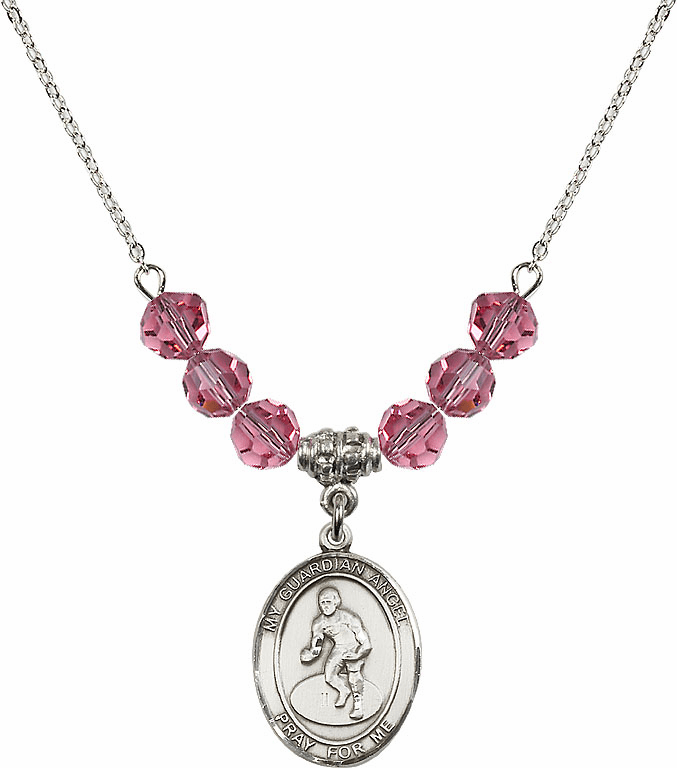 Sterling Silver Guardian Angel Wrestling Sterling October Rose Swarovski Crystal Beaded Necklace by Bliss Mfg