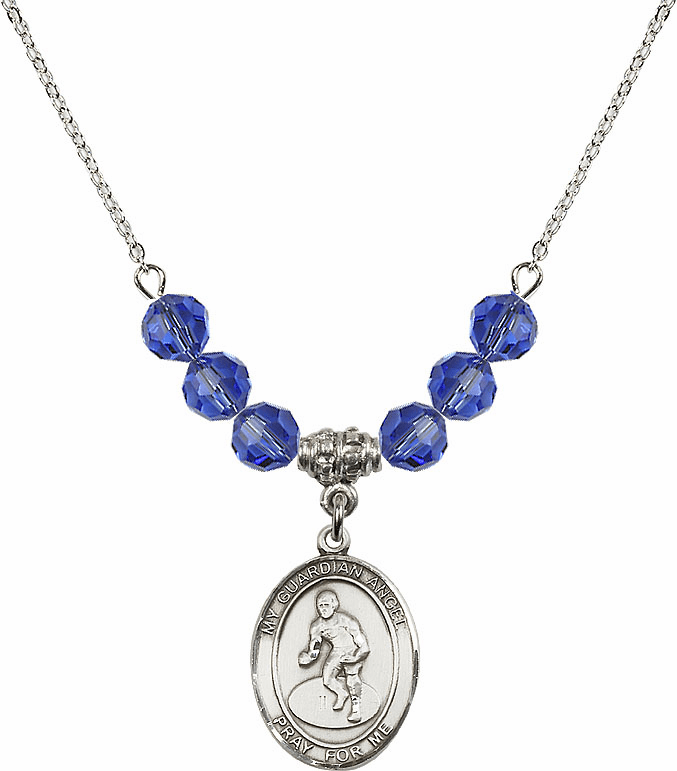 Sterling Silver Guardian Angel Wrestling Sterling September Sapphire Swarovski Crystal Beaded Necklace by Bliss Mfg