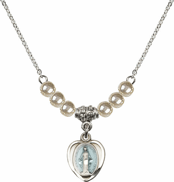 Sterling Silver Heart Blue Shape Miraculous Medal Sterling 4mm Faux Pearlsl Necklace by Bliss Mfg