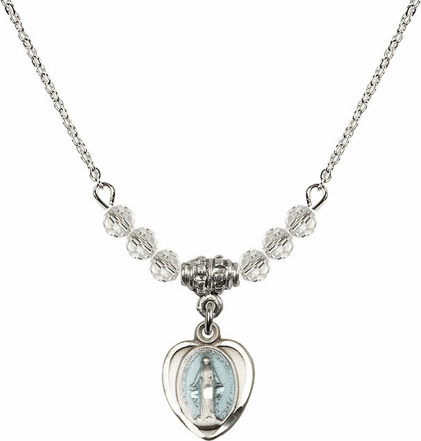 Sterling Silver Heart Blue Shape Miraculous Medal Sterling April 4mm Swarovski Crystal Necklace by Bliss Mfg