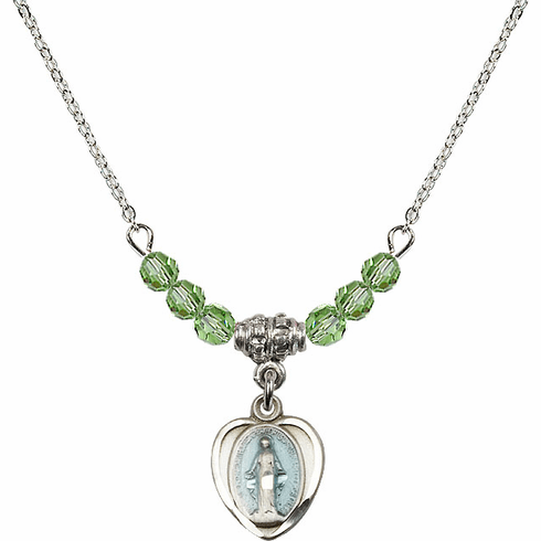 Sterling Silver Heart Blue Shape Miraculous Medal Sterling August Peridot 4mm Swarovski Crystal Necklace by Bliss Mfg