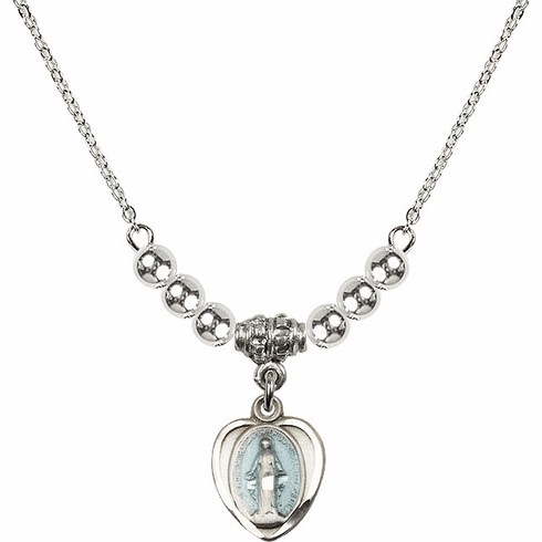Sterling Silver Heart Blue Shape Miraculous Medal Sterling Charm w/4mm Silver Beaded Necklace by Bliss Mfg