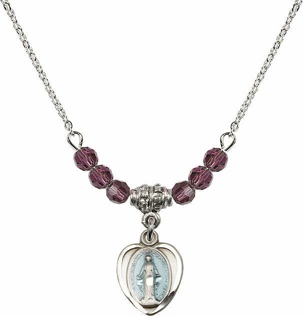 Sterling Silver Heart Blue Shape Miraculous Medal Sterling February Amethyst 4mm Swarovski Crystal Necklace by Bliss Mfg