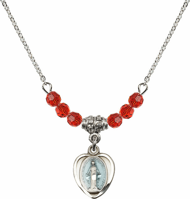 Sterling Silver Heart Blue Shape Miraculous Medal Sterling July Ruby 4mm Swarovski Crystal Necklace by Bliss Mfg
