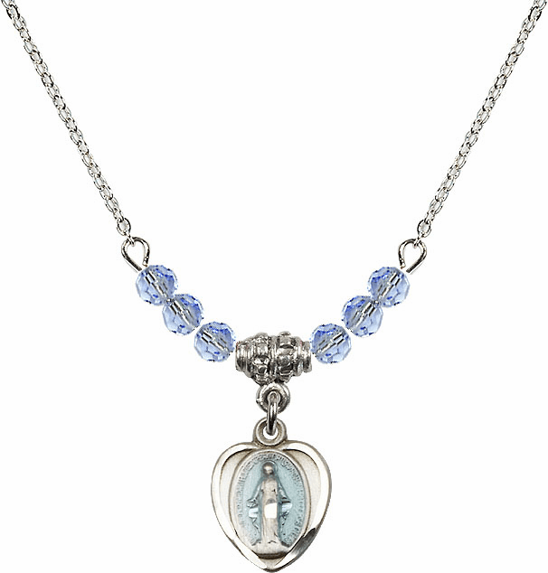 Sterling Silver Heart Blue Shape Miraculous Medal Sterling Lt Sapphire 4mm Swarovski Crystal Necklace by Bliss Mfg