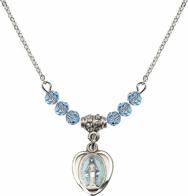 Sterling Silver Heart Blue Shape Miraculous Medal Sterling March Aqua 4mm Swarovski Crystal March Aqua Necklace by Bliss Mfg