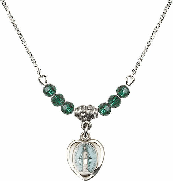 Sterling Silver Heart Blue Shape Miraculous Medal Sterling May Emerald 4mm Swarovski Crystal Necklace by Bliss Mfg