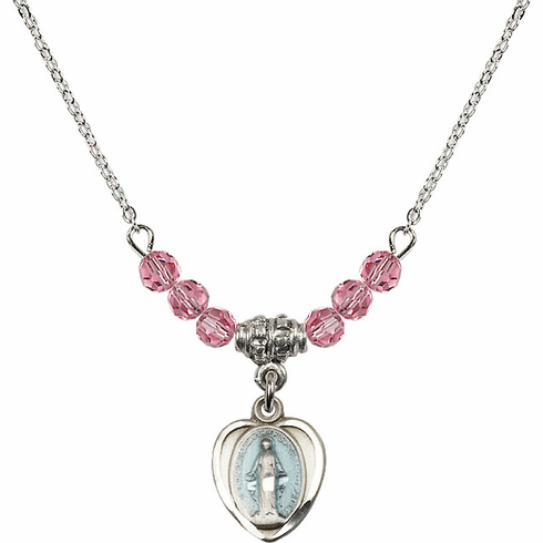 Sterling Silver Heart Blue Shape Miraculous Medal Sterling October Rose 4mm Swarovski Crystal Necklace by Bliss Mfg