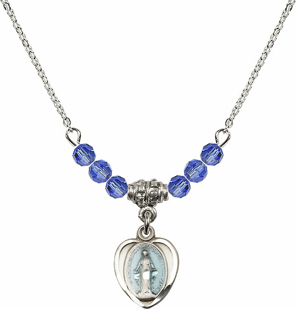 Sterling Silver Heart Blue Shape Miraculous Medal Sterling September Sapphire 4mm Swarovski Crystal Necklace by Bliss Mfg