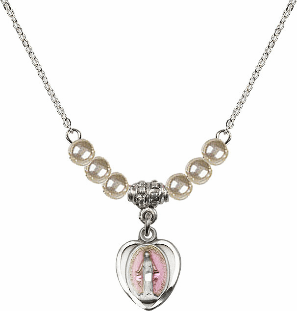 Sterling Silver Heart-Pink Shape Miraculous Medal Sterling 4mm Faux Pearlsl Necklace by Bliss Mfg
