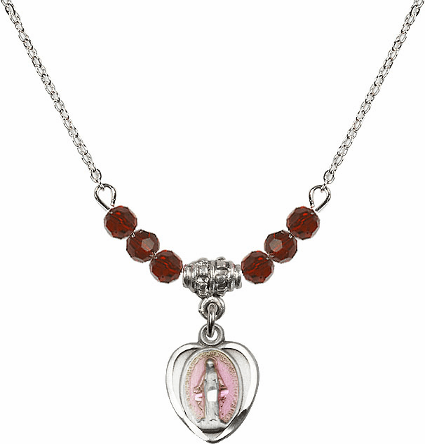 Sterling Silver Heart-Pink Shape Miraculous Medal Sterling 4mm January Garnet Swarovski Crystal Necklace by Bliss Mfg