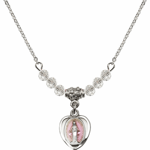 Sterling Silver Heart-Pink Shape Miraculous Medal Sterling April 4mm Swarovski Crystal Necklace by Bliss Mfg