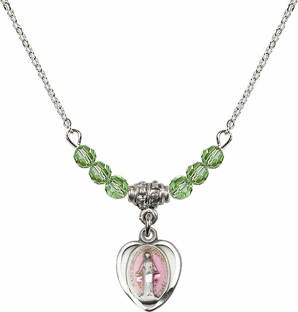 Sterling Silver Heart-Pink Shape Miraculous Medal Sterling August Peridot 4mm Swarovski Crystal Necklace by Bliss Mfg