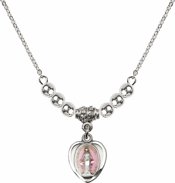 Sterling Silver Heart-Pink Shape Miraculous Medal Sterling Charm w/4mm Silver Beaded Necklace by Bliss Mfg