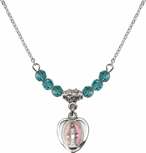 Sterling Silver Heart-Pink Shape Miraculous Medal Sterling December Zircon 4mm Swarovski Crystal Necklace by Bliss Mfg