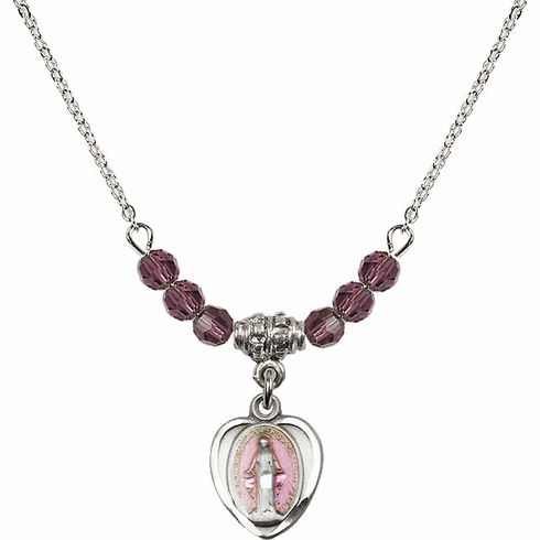 Sterling Silver Heart-Pink Shape Miraculous Medal Sterling February Amethyst 4mm Swarovski Crystal Necklace by Bliss Mfg