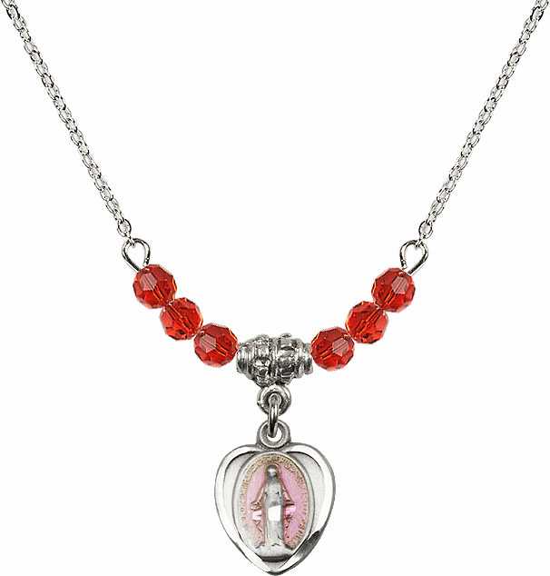 Sterling Silver Heart-Pink Shape Miraculous Medal Sterling July Ruby 4mm Swarovski Crystal Necklace by Bliss Mfg