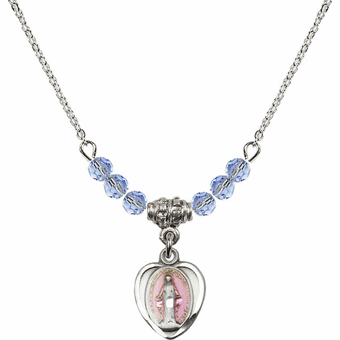 Sterling Silver Heart-Pink Shape Miraculous Medal Sterling Lt Sapphire 4mm Swarovski Crystal Necklace by Bliss Mfg