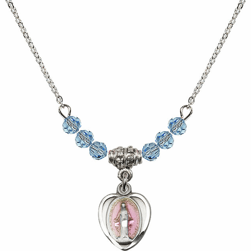 Sterling Silver Heart-Pink Shape Miraculous Medal Sterling March Aqua 4mm Swarovski Crystal March Aqua Necklace by Bliss Mfg