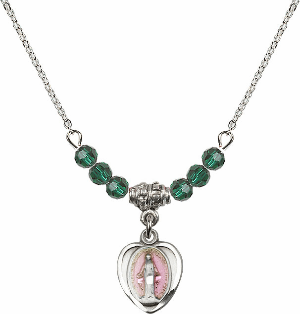 Sterling Silver Heart-Pink Shape Miraculous Medal Sterling May Emerald 4mm Swarovski Crystal Necklace by Bliss Mfg