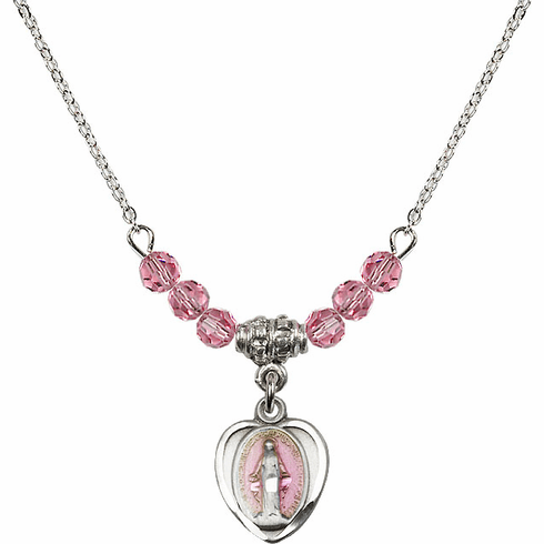 Sterling Silver Heart-Pink Shape Miraculous Medal Sterling October Rose 4mm Swarovski Crystal Necklace by Bliss Mfg