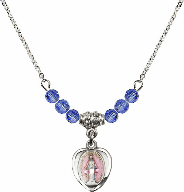 Sterling Silver Heart-Pink Shape Miraculous Medal Sterling September Sapphire 4mm Swarovski Crystal Necklace by Bliss Mfg