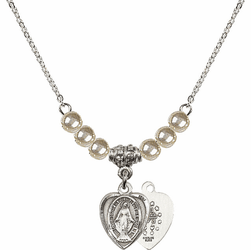 Sterling Silver Heart Shape Miraculous Medal Sterling 4mm Faux Pearlsl Necklace by Bliss Mfg