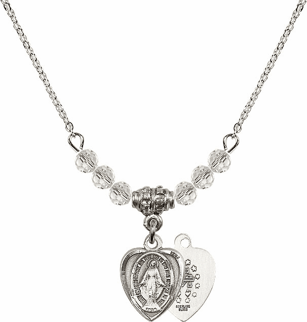 Sterling Silver Heart Shape Miraculous Medal Sterling April 4mm Swarovski Crystal Necklace by Bliss Mfg