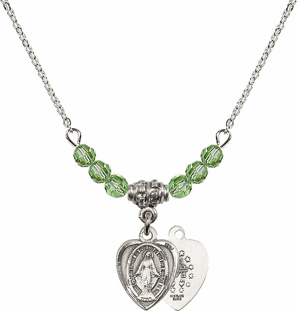 Sterling Silver Heart Shape Miraculous Medal Sterling August Peridot 4mm Swarovski Crystal Necklace by Bliss Mfg