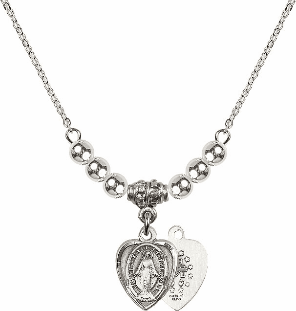 Sterling Silver Heart Shape Miraculous Medal Sterling Charm w/4mm Silver Beaded Necklace by Bliss Mfg